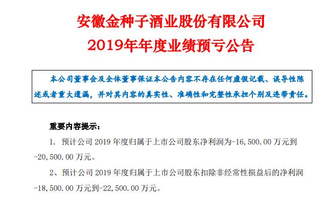 金种子酒2019年净利润亏损1.65亿至2.05亿元